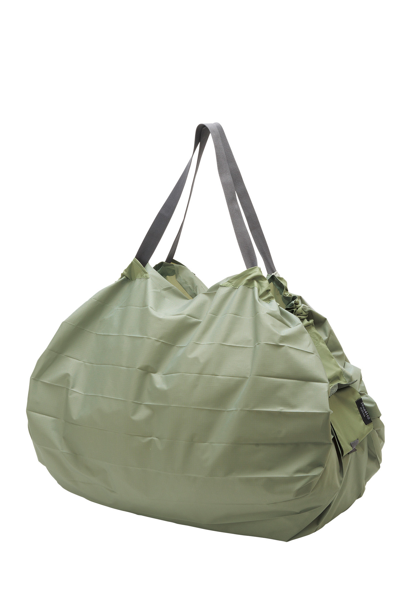 Compact Bag L - MORI - Foldable Shopping Bag One-Pull (patented) Khaki, Polyester