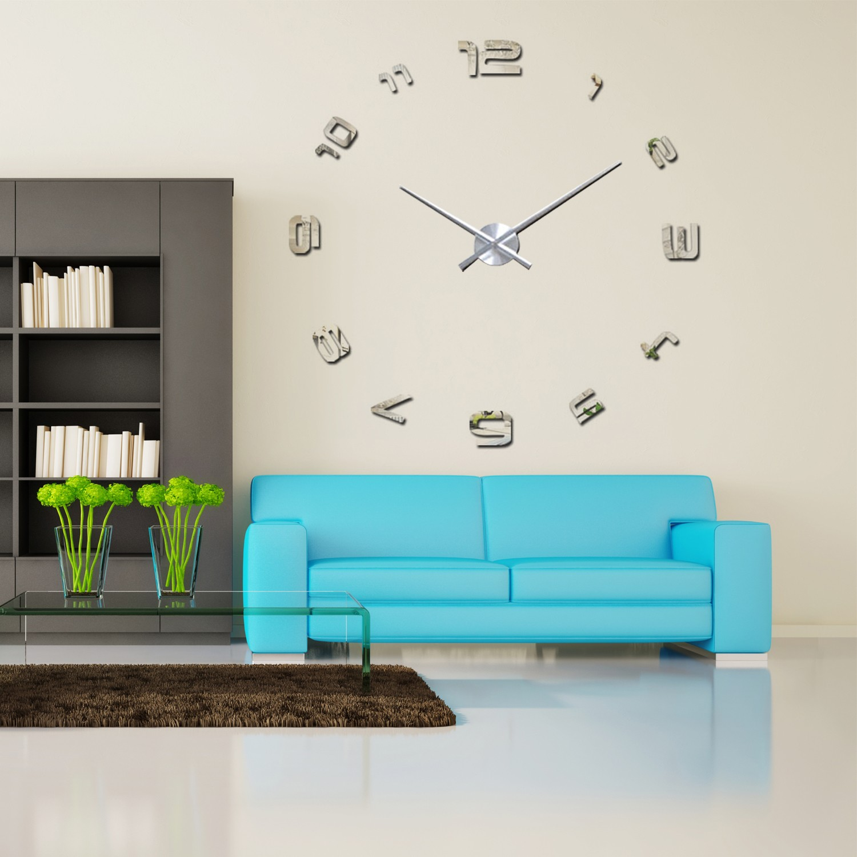 wandtattoo luxury diy wanduhr silber arabicnumb wandsticker wohnen innen online bei isda. Black Bedroom Furniture Sets. Home Design Ideas
