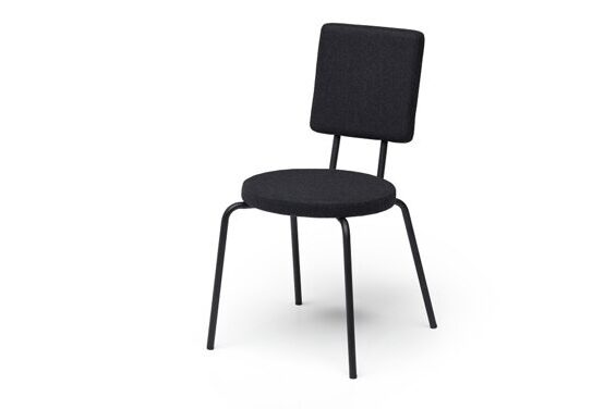 Option Chair black - round seat - backrest square