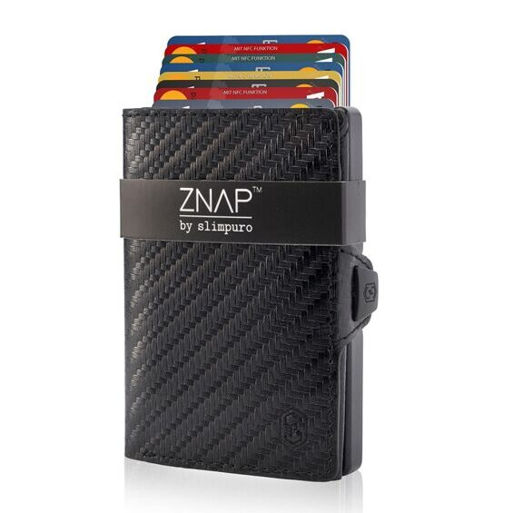 ZNAP Wallet Carbon Real Leather Black for 8 cards