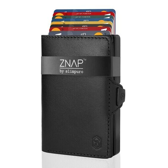 ZNAP wallet smooth leather black for 12 cards