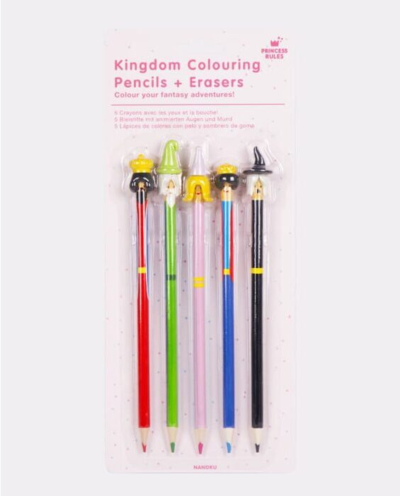 Kingdom Colouring Pencils + Erasers